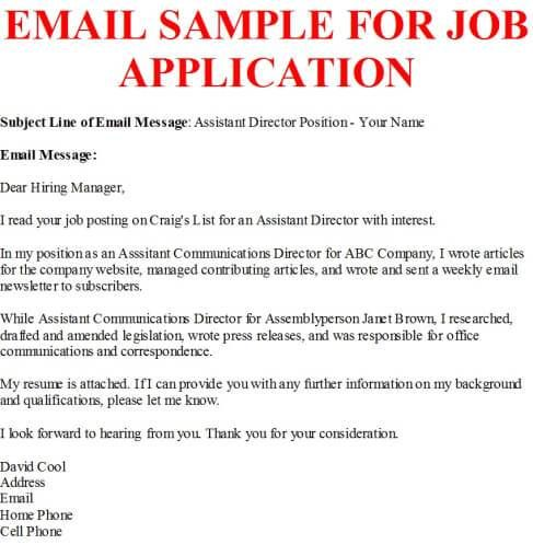 sample job inquiry email