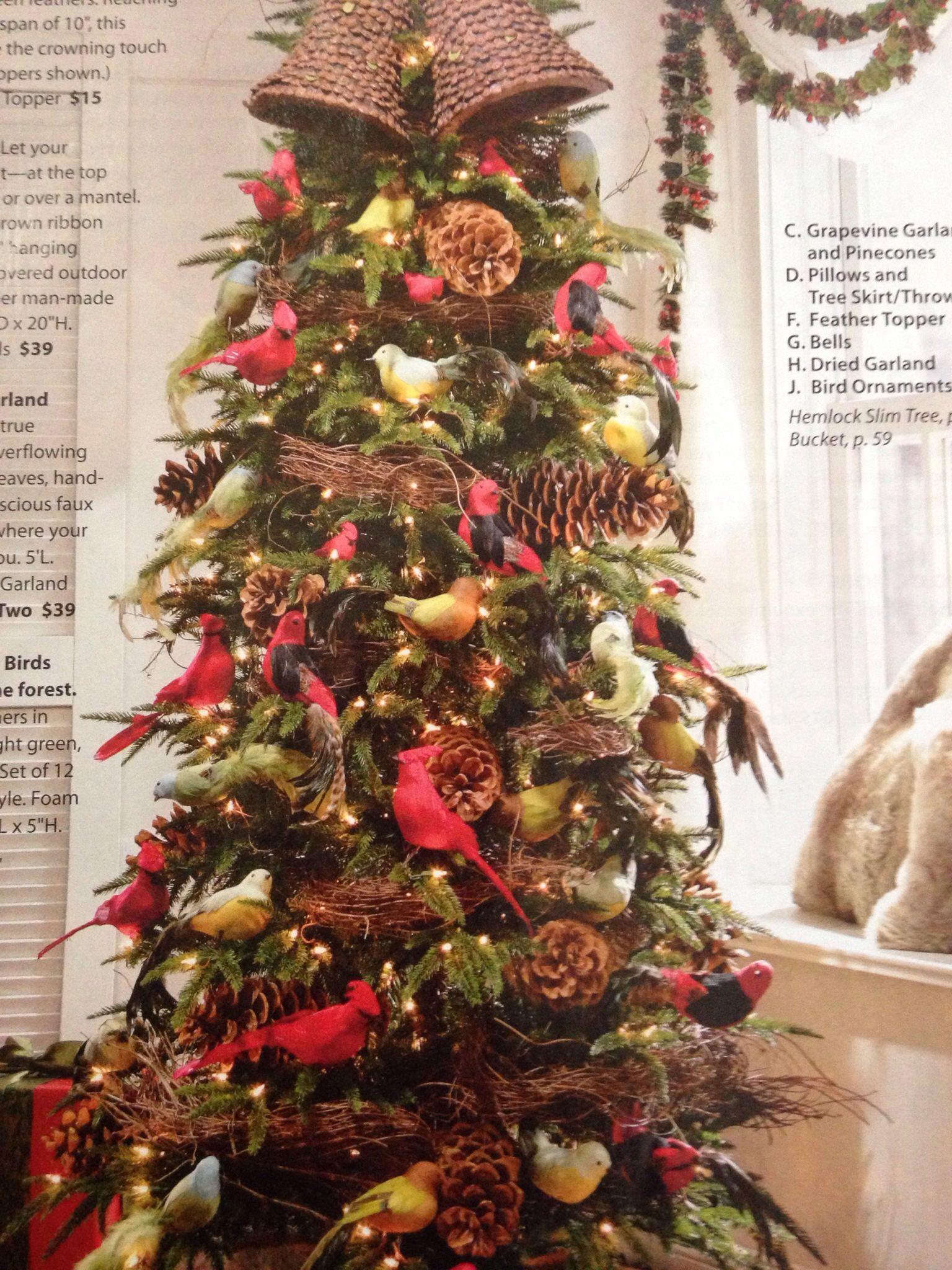Red birds Christmas tree | Tree decorations year round | Pinterest