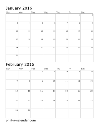2016 Two Months per page vertical stacked printable calendar | ESL ...