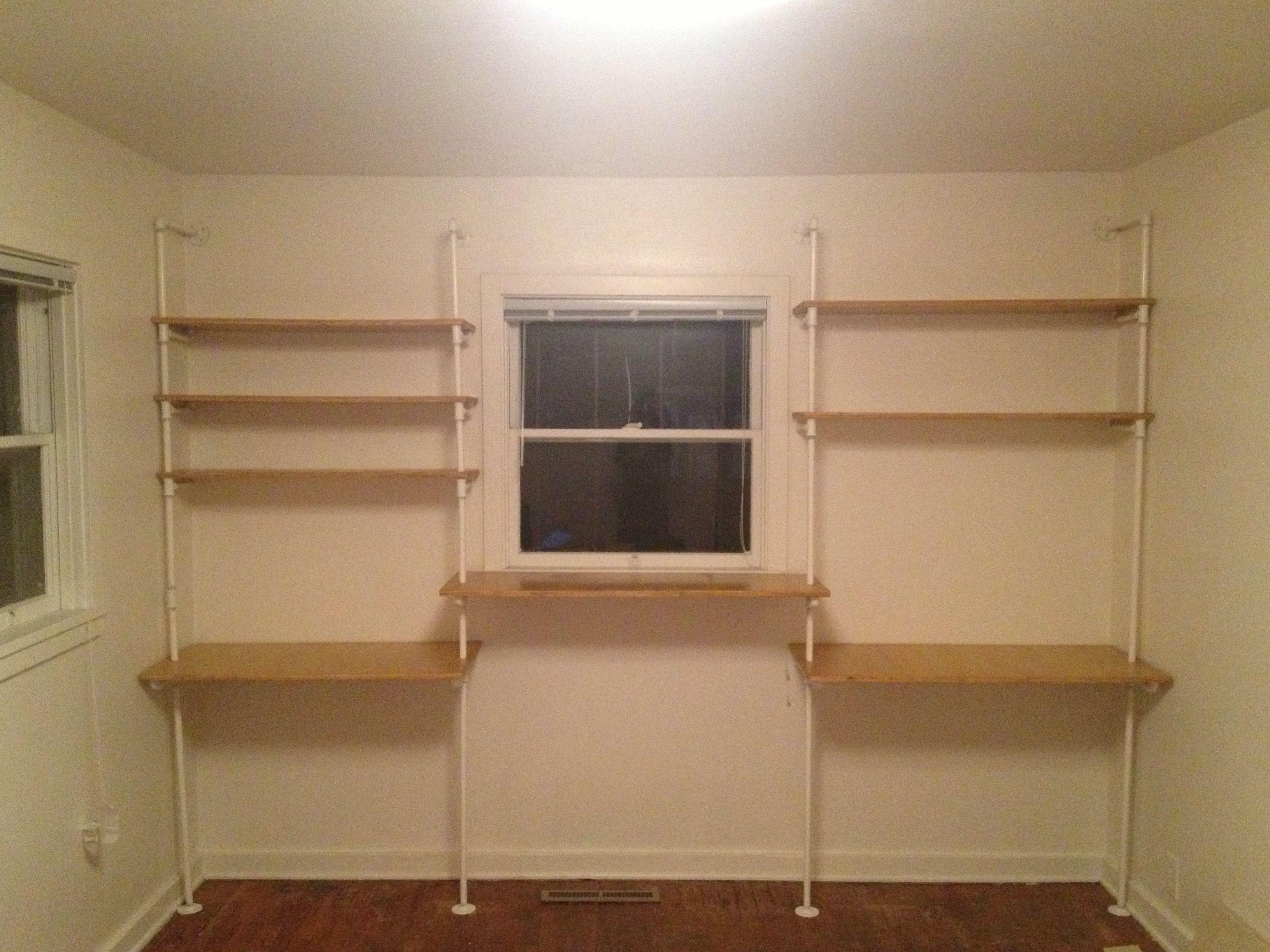 homemade desk shelves in white random pinterest. Black Bedroom Furniture Sets. Home Design Ideas