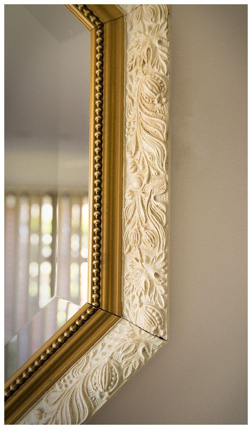 White gold chalk paint mirror detail mirror pinterest for White and gold mirror