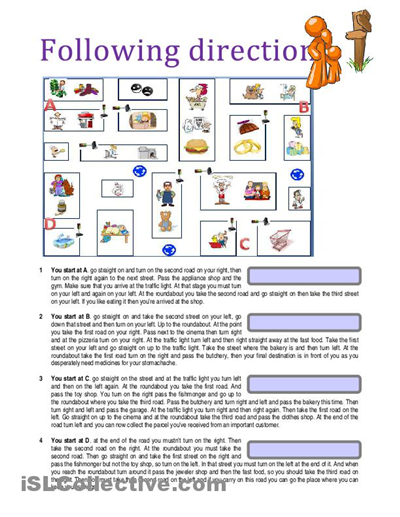 Following written directions worksheets high school