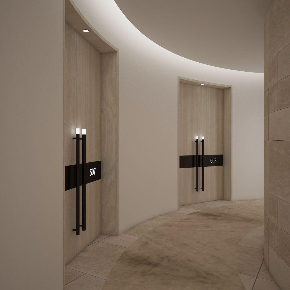 Abasalom hotel guest corridor interiors pinterest for Hotel entrance door designs