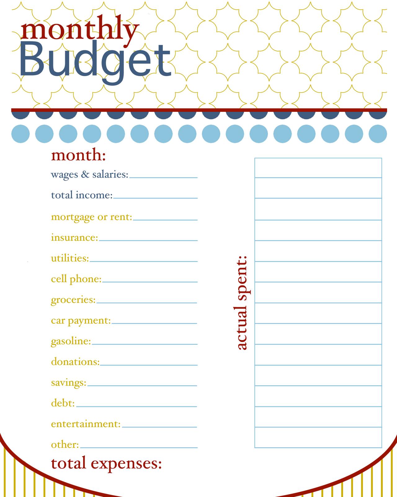 Printable Blank Budget Worksheet Monthly-budget printable
