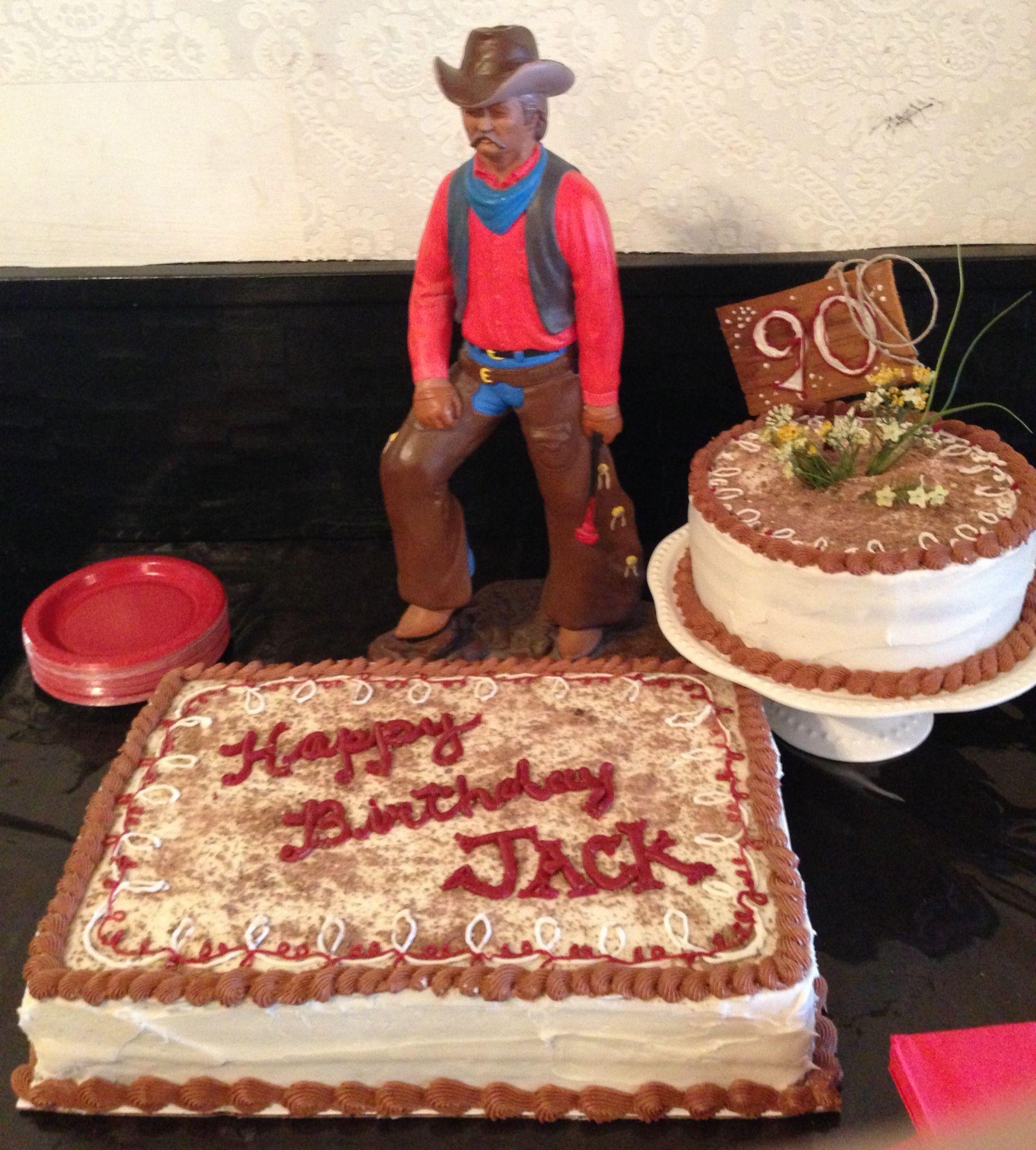 90th birthday cake for cowboy grandpa  Party Ideas  Pinterest