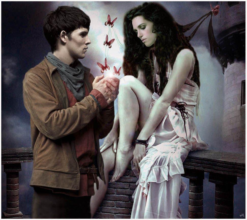 Merlin And Morgana Kiss Merlin Arthur And Morg...