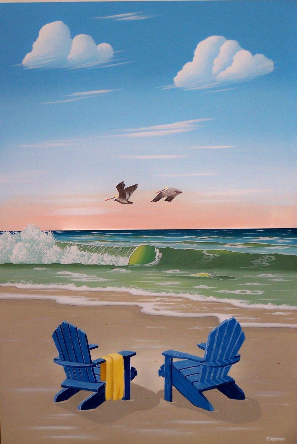 Beach chair with umbrella painting - Beach Chairs Art Pinterest