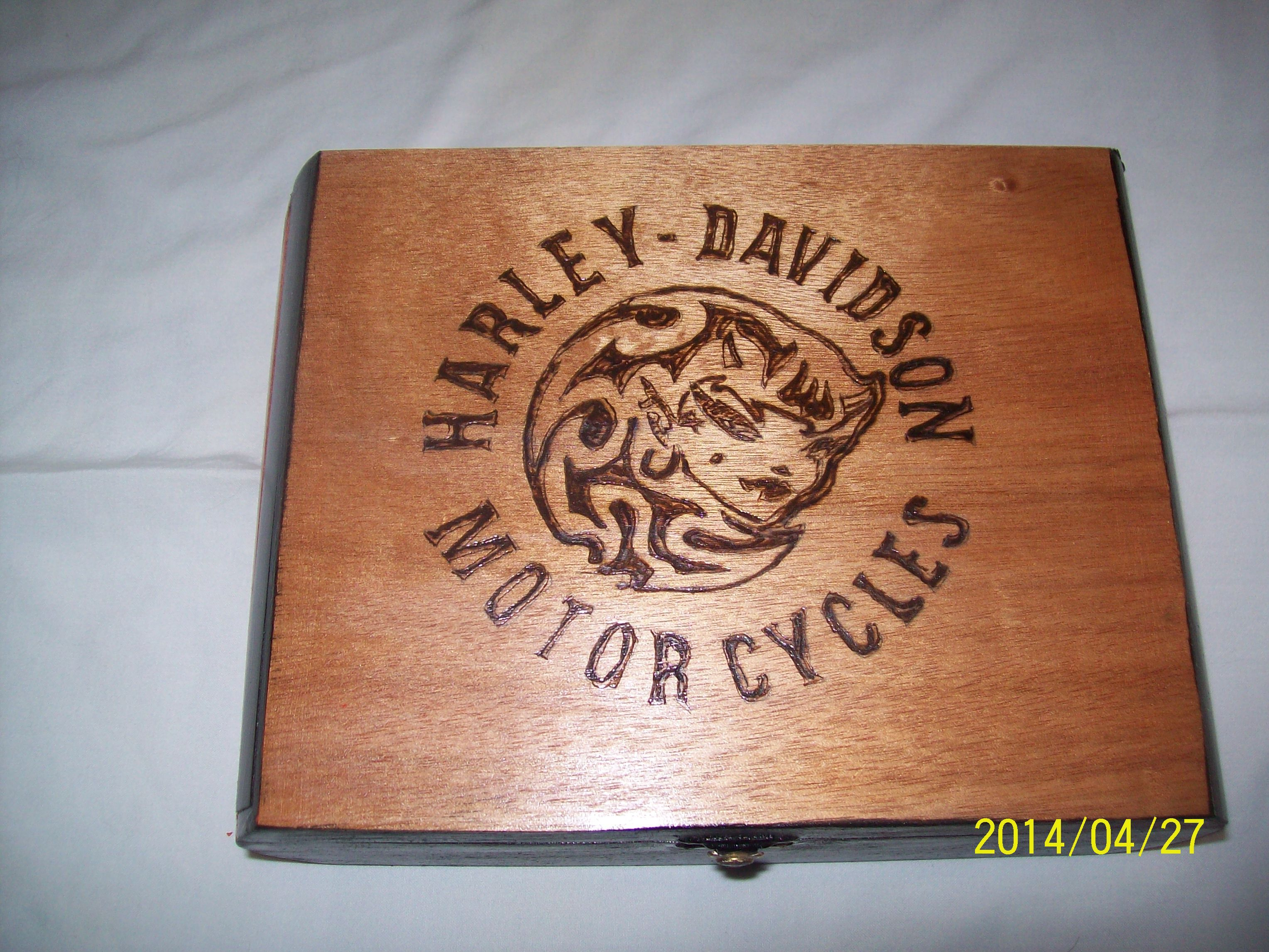 Marvelous photograph of box with a Harley Davidson theme. Wood Burning Pinterest with #975D34 color and 3056x2292 pixels