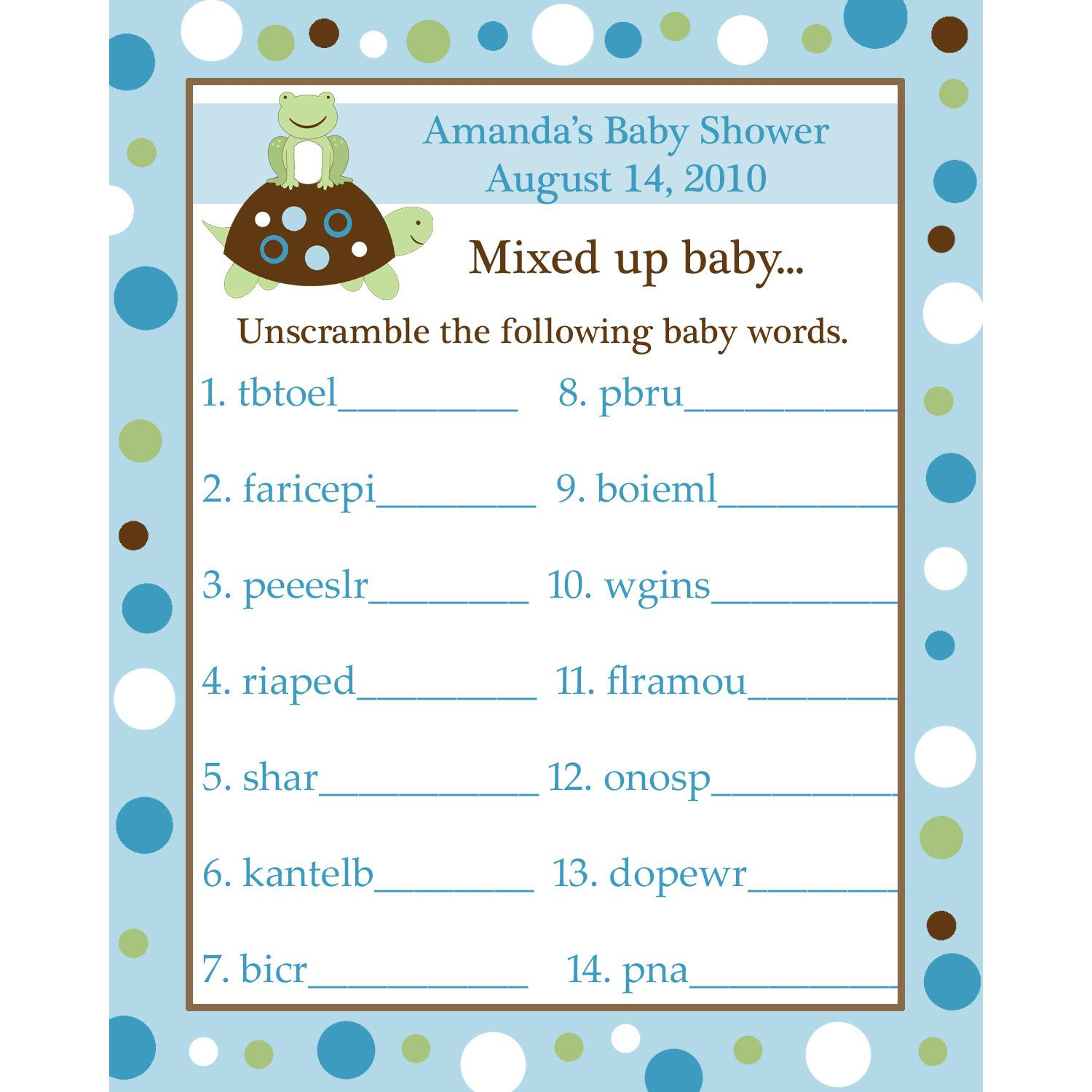 Baby Shower Word Scramble Game  Free Printable
