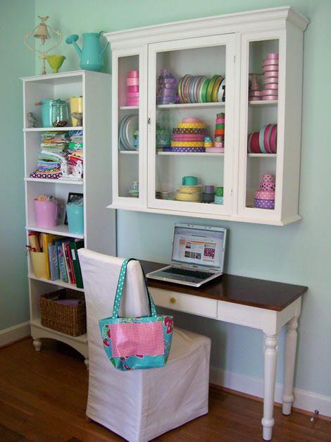 craft room idea shelf over a desk