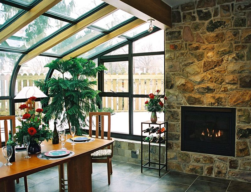 Sunroom with fireplace home of my dreams pinterest for Sunroom with fireplace