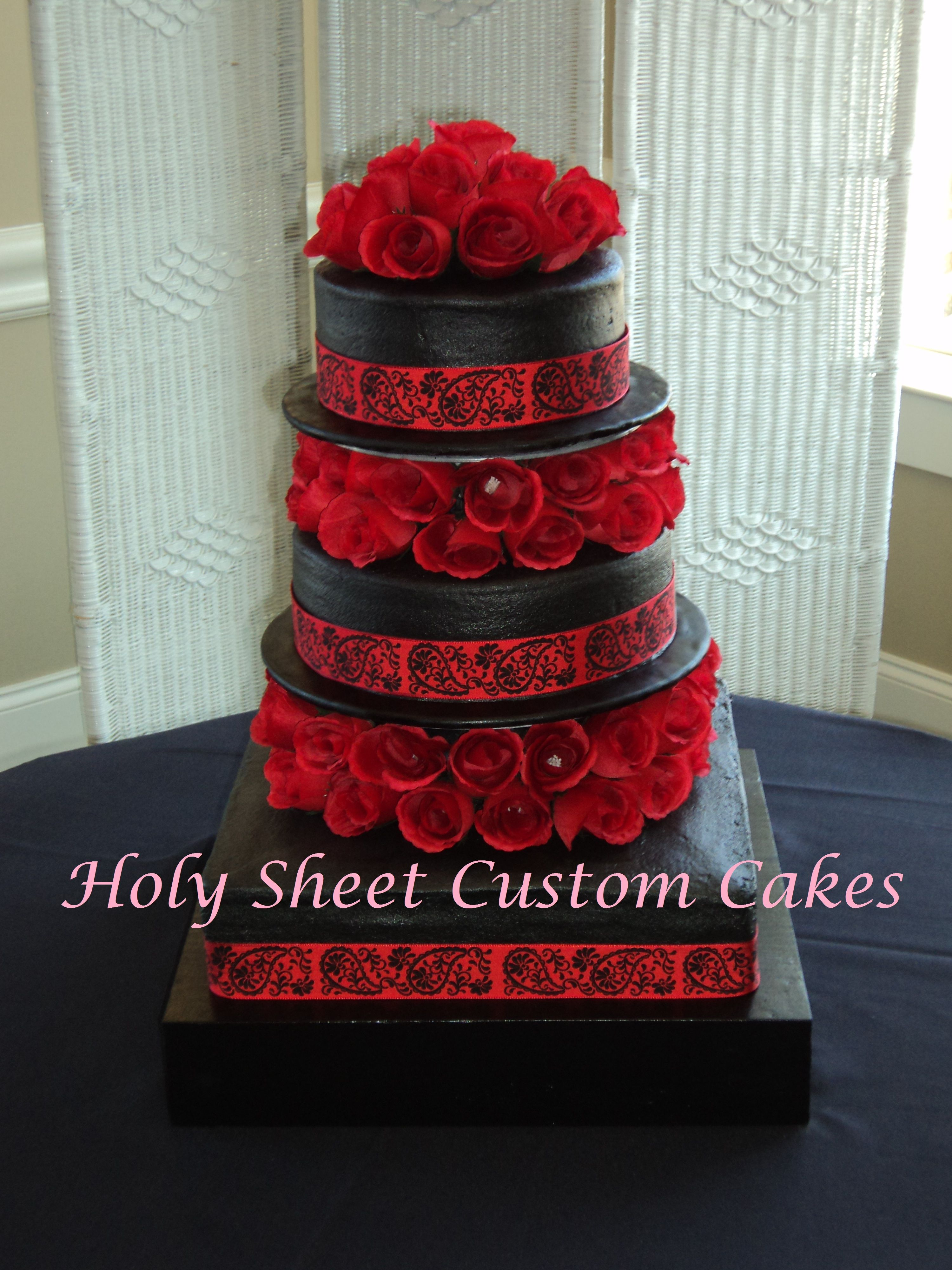 Black and Red Wedding Cake Wedding Bells