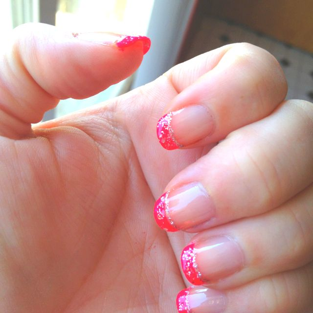 Hot Pink And Silver Tipped Nails