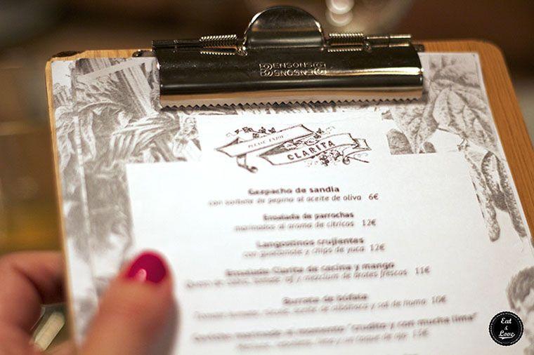 Carta Restaurante Clarita Madrid Malasaña