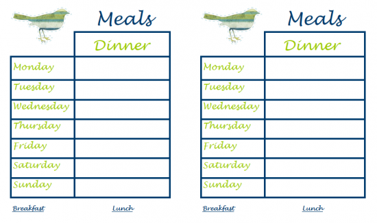 Daily Menu Planner Template – imvcorp