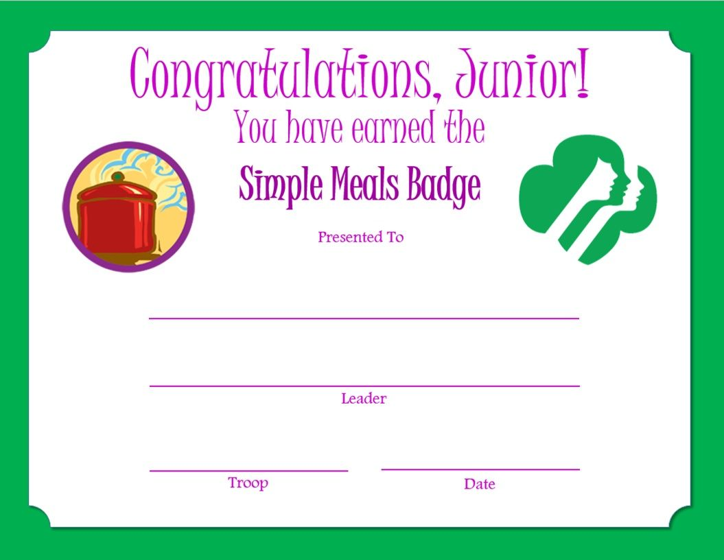 Girl Scout Junior Badge Placement