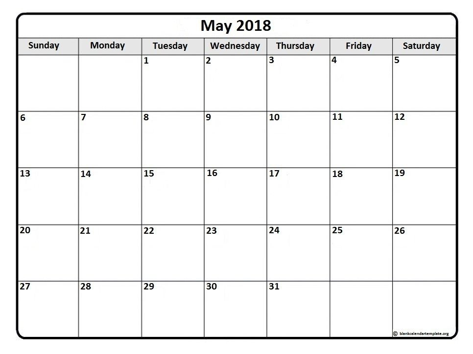 May 2018 monthly calendar template | Printable calendars ...