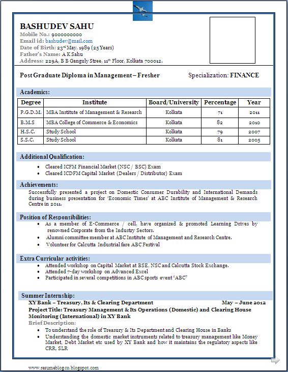 resume format for fresher graduate