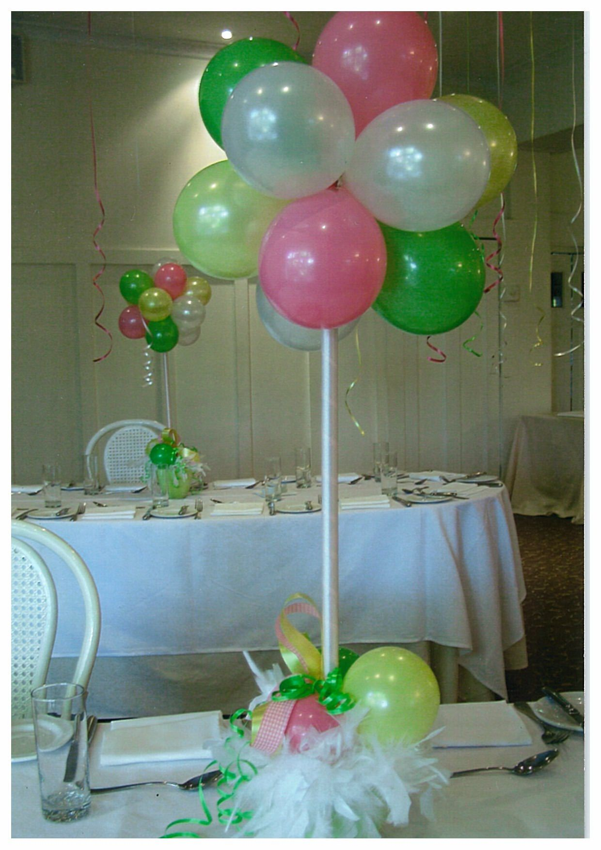 Balloon center pieces baby shower ideas pinterest for Baby shower decoration ideas with balloons