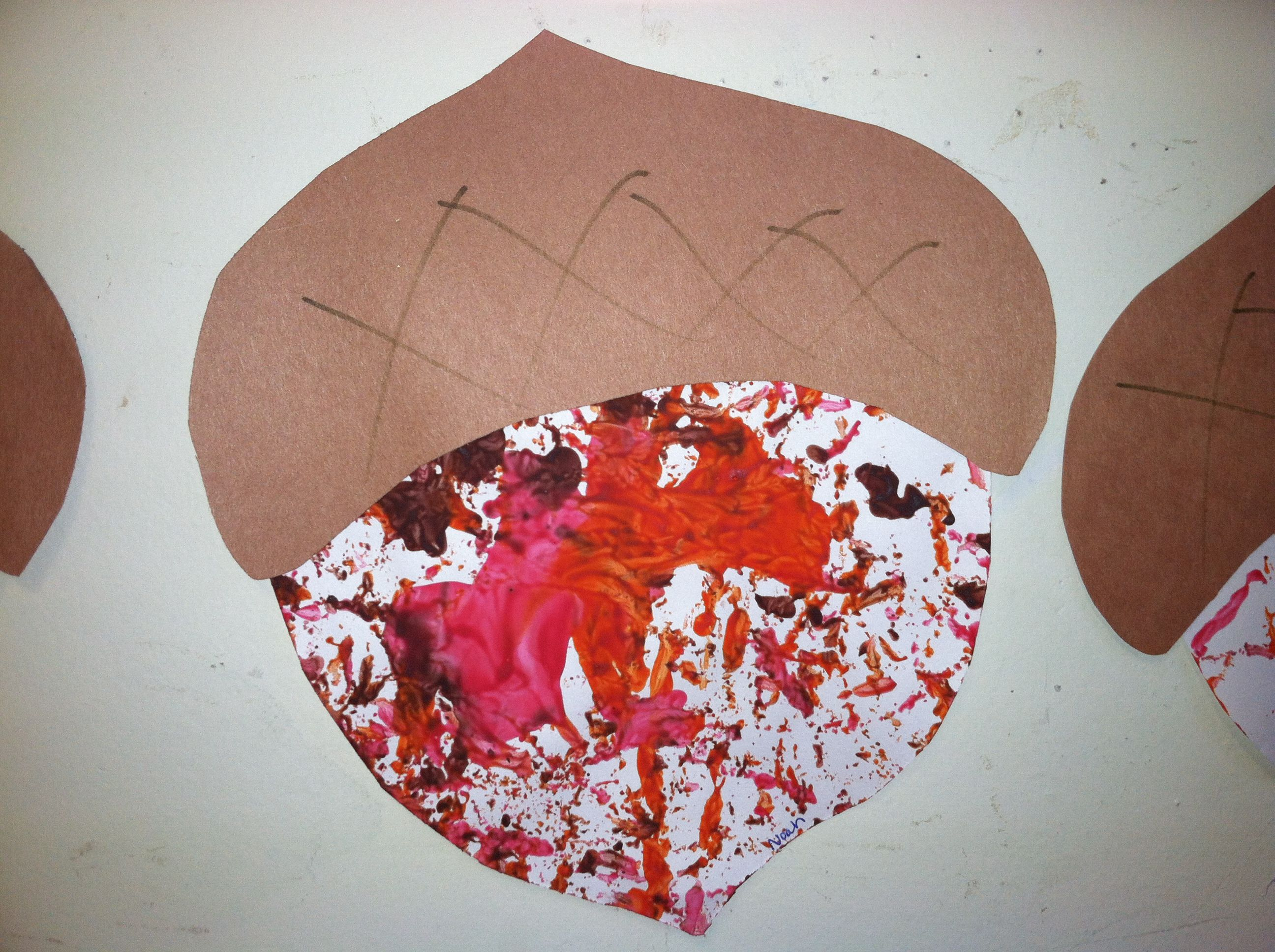 marble painting with acorns kids crafts fall pinterest