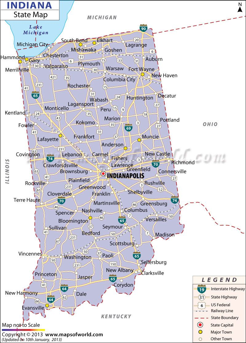 Map Of Indiana Us States Indiana Map State Map