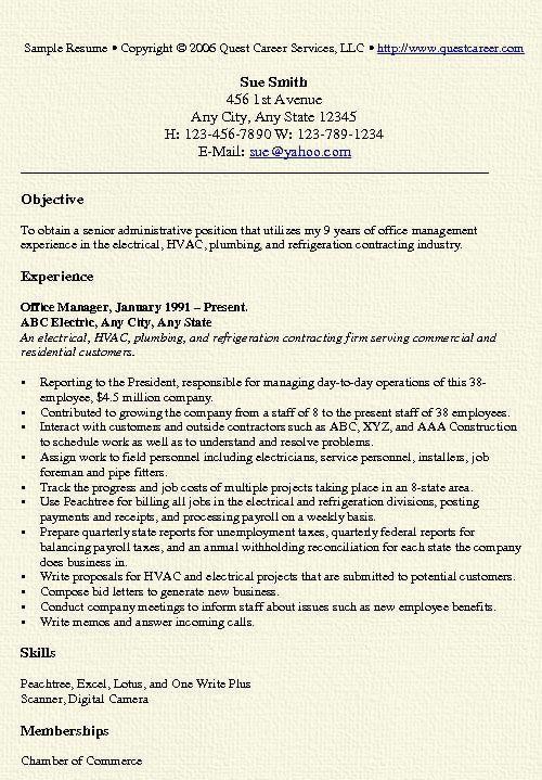 Resume For Office Job - administrative director sample resume