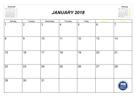 Pin by Printable Free on January 2018 calendar | Pinterest
