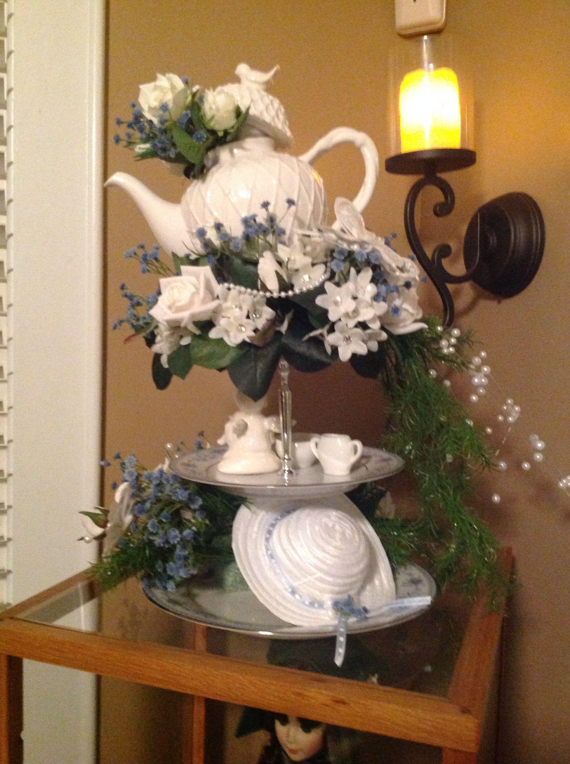 Centerpiece for women s tea at church woman hat