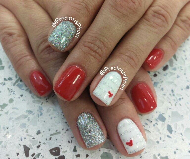 valentine heart nail art