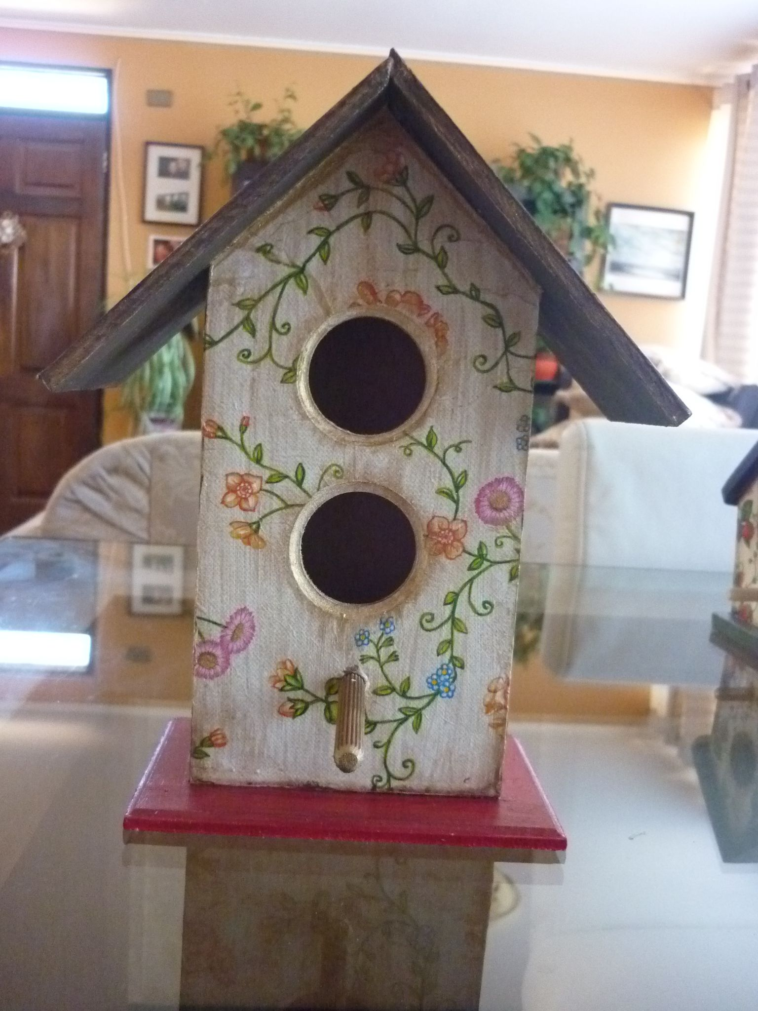 Casita de pajaros en decoupage birdhouses birdcages for Casita madera jardin
