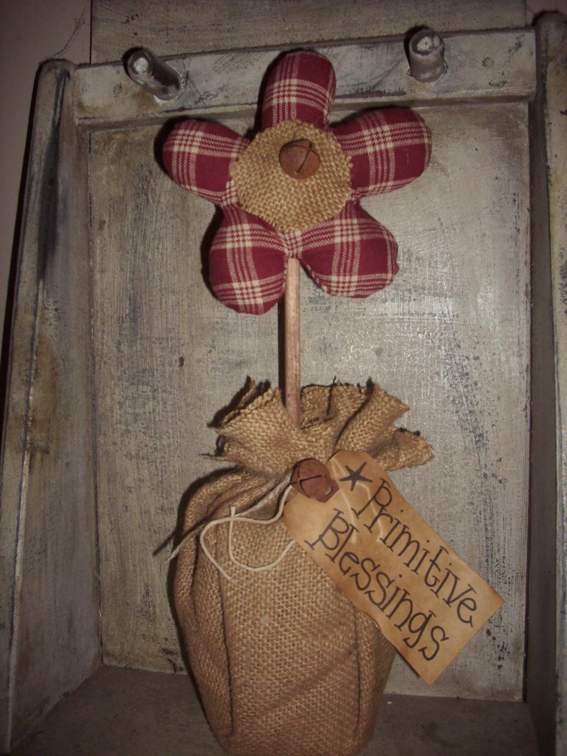 burlap flowers crafts primitive pinterest