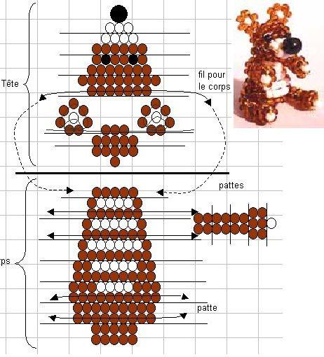 Медведи из бисера схема плетения