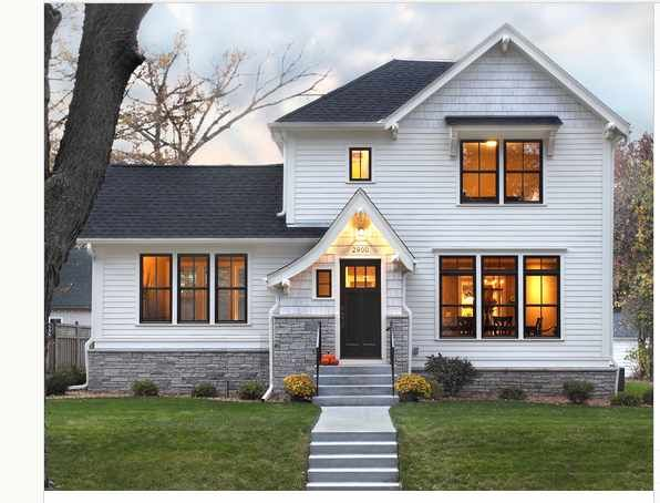 White siding black roof grey brick home pinterest for Black brick on house