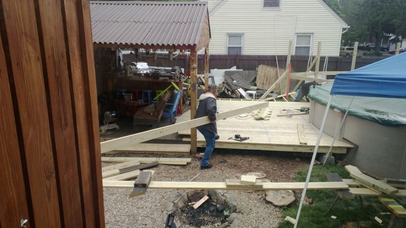 Getting there....new deck | Above ground pool deck | Pinterest