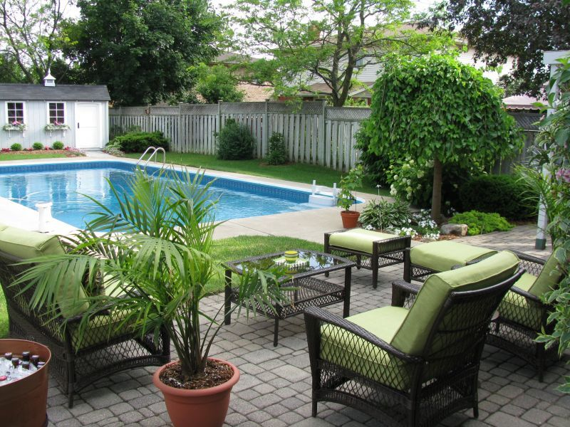 Backyard Inground Pool Landscaping Ideas : Outdoor living by the pool  Pool Design  Pinterest