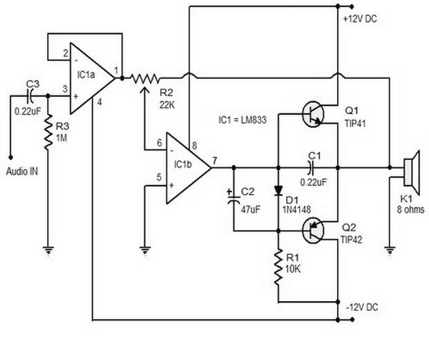 15 Watt Class B Amplifier Electronic Circuits In 2019 Electronic Schematics Diy Electronics