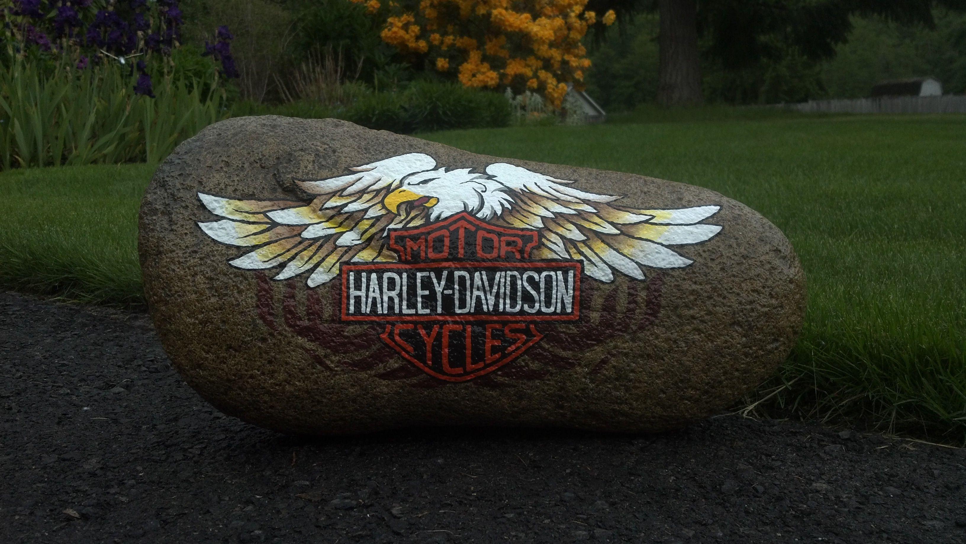 Harley painted garden rock rocks pinterest - Painting rocks for garden ...