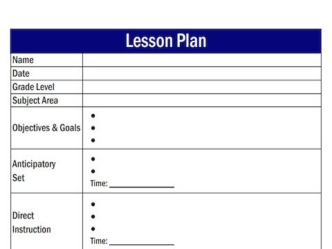 Blank  Step Lesson Plan Template  Printable Editable Blank