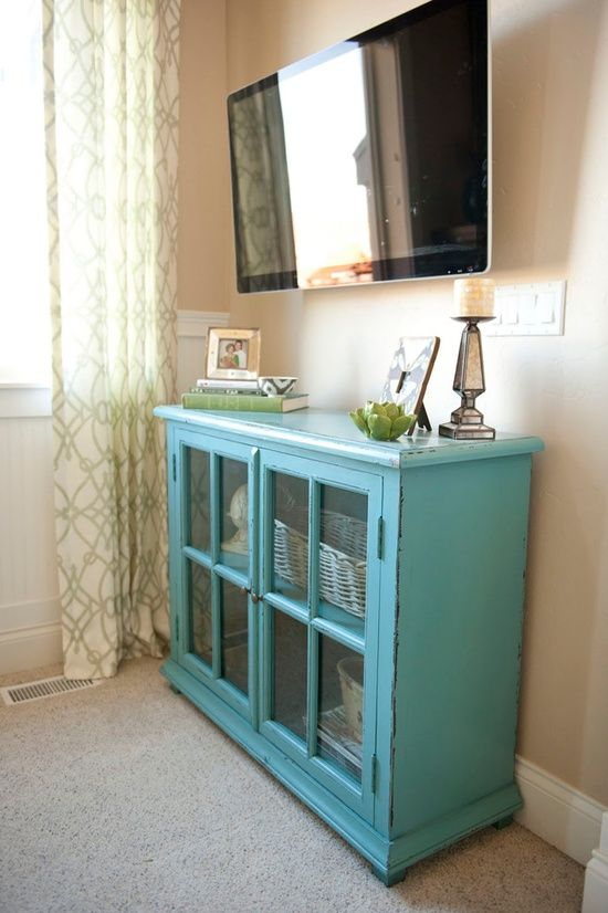 Turquoise Glass Door Hutch