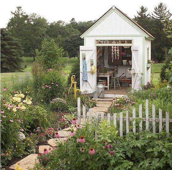 Cottage Garden shedplantsfence Like Gardening