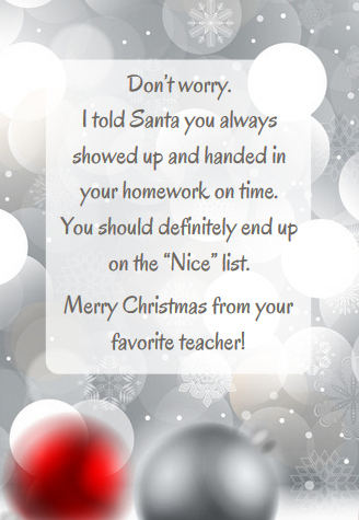 Christmas card message for teacher