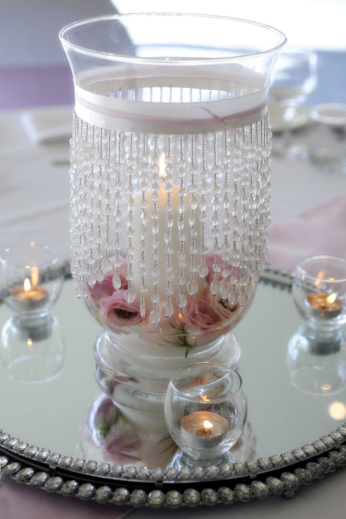 Hurricane vase wedding centerpieces pinterest