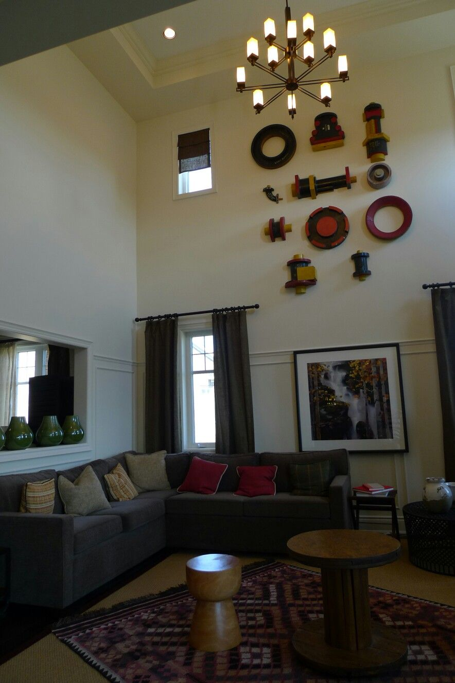 high ceiling with unique wall decor decor living room