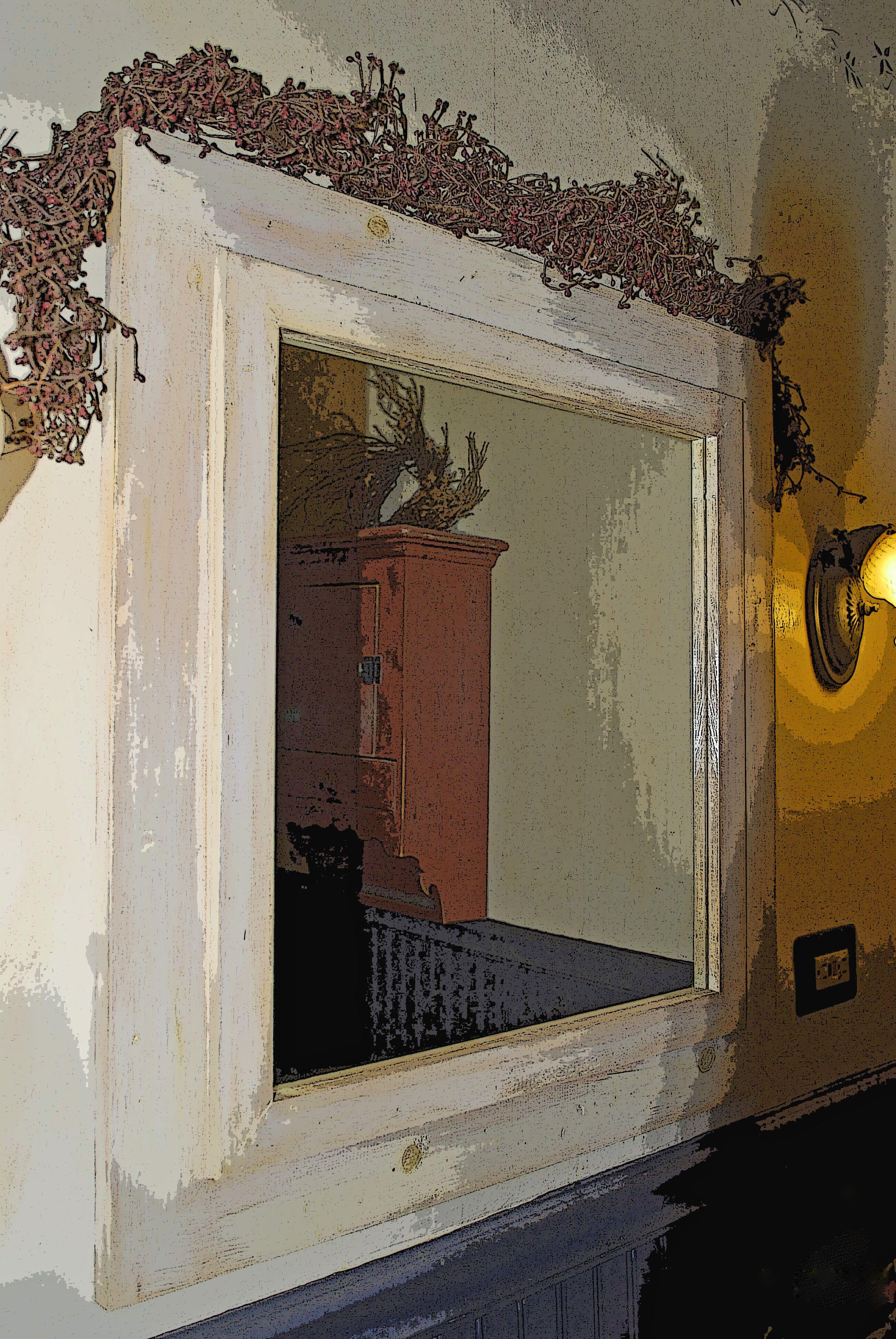 Primitive bathroom mirrors