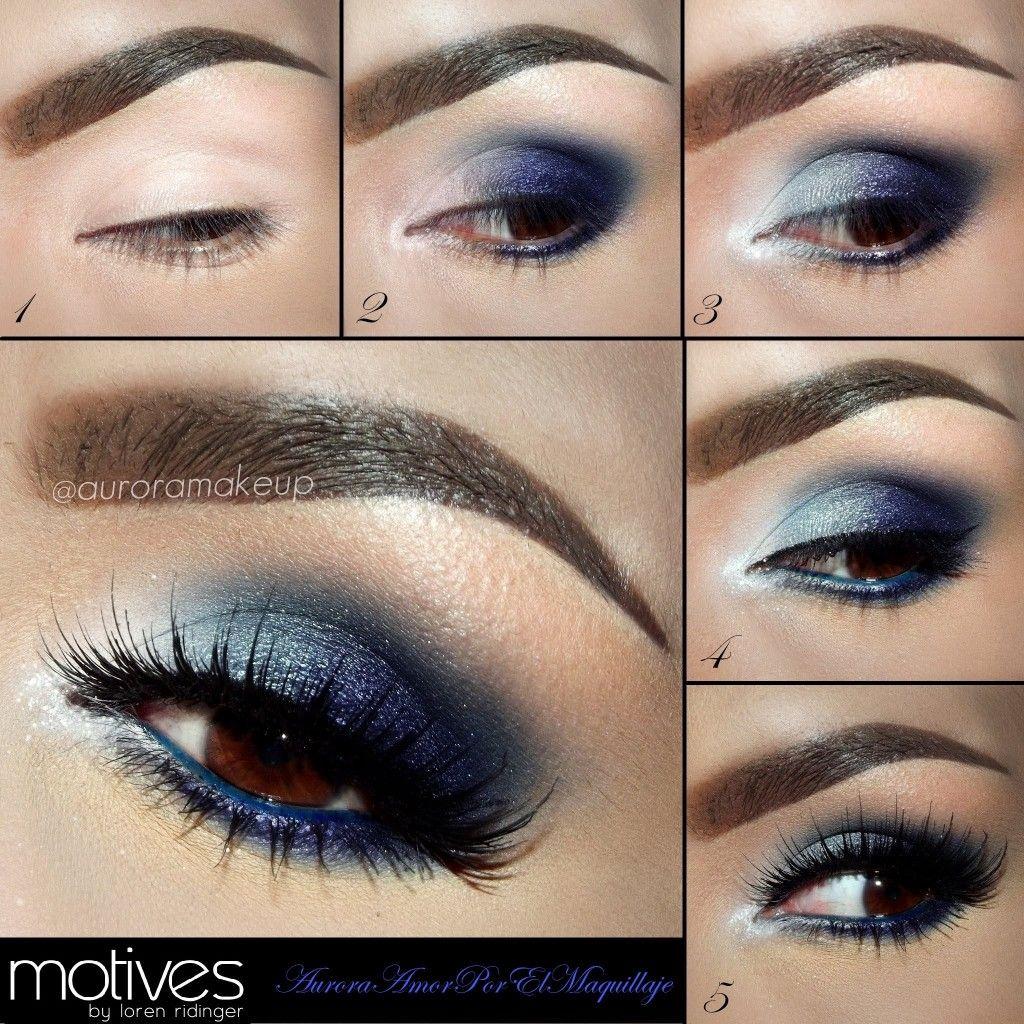 Синее глаза макияж с черными и синими тенями