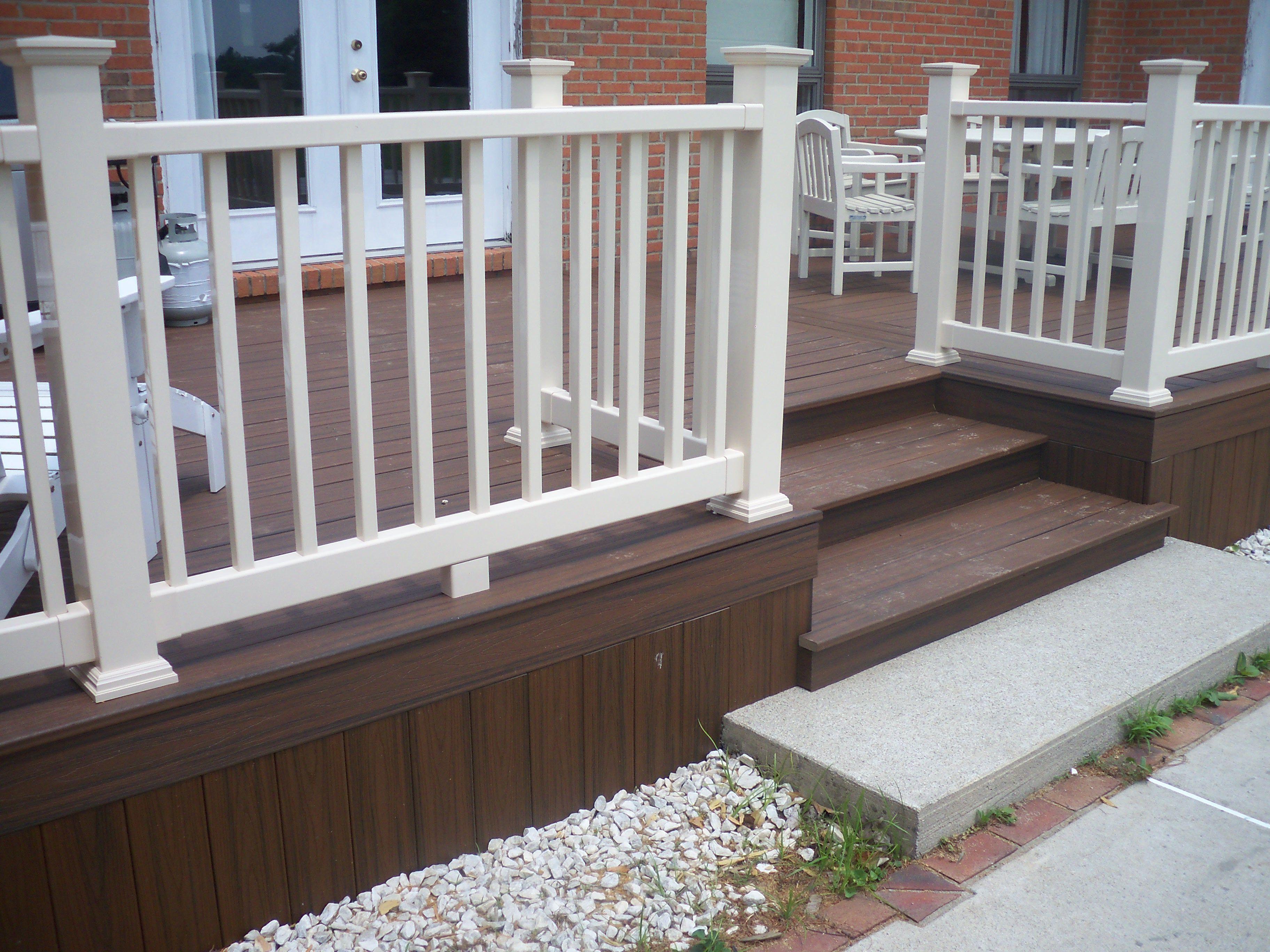 Trex deck with almond vinyl railing deck pinterest for Composite deck railing