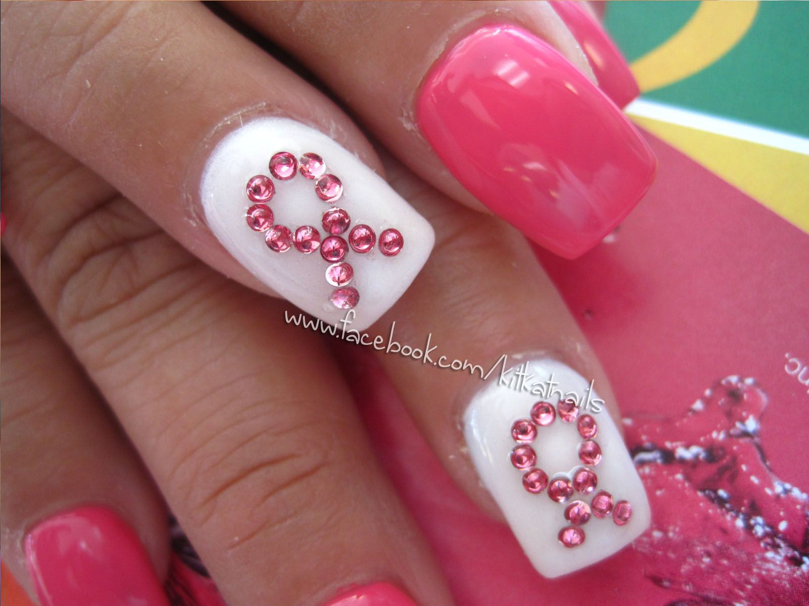 Pin by Vicky Watson on Breast Cancer Awareness Nail Design | Pinterest