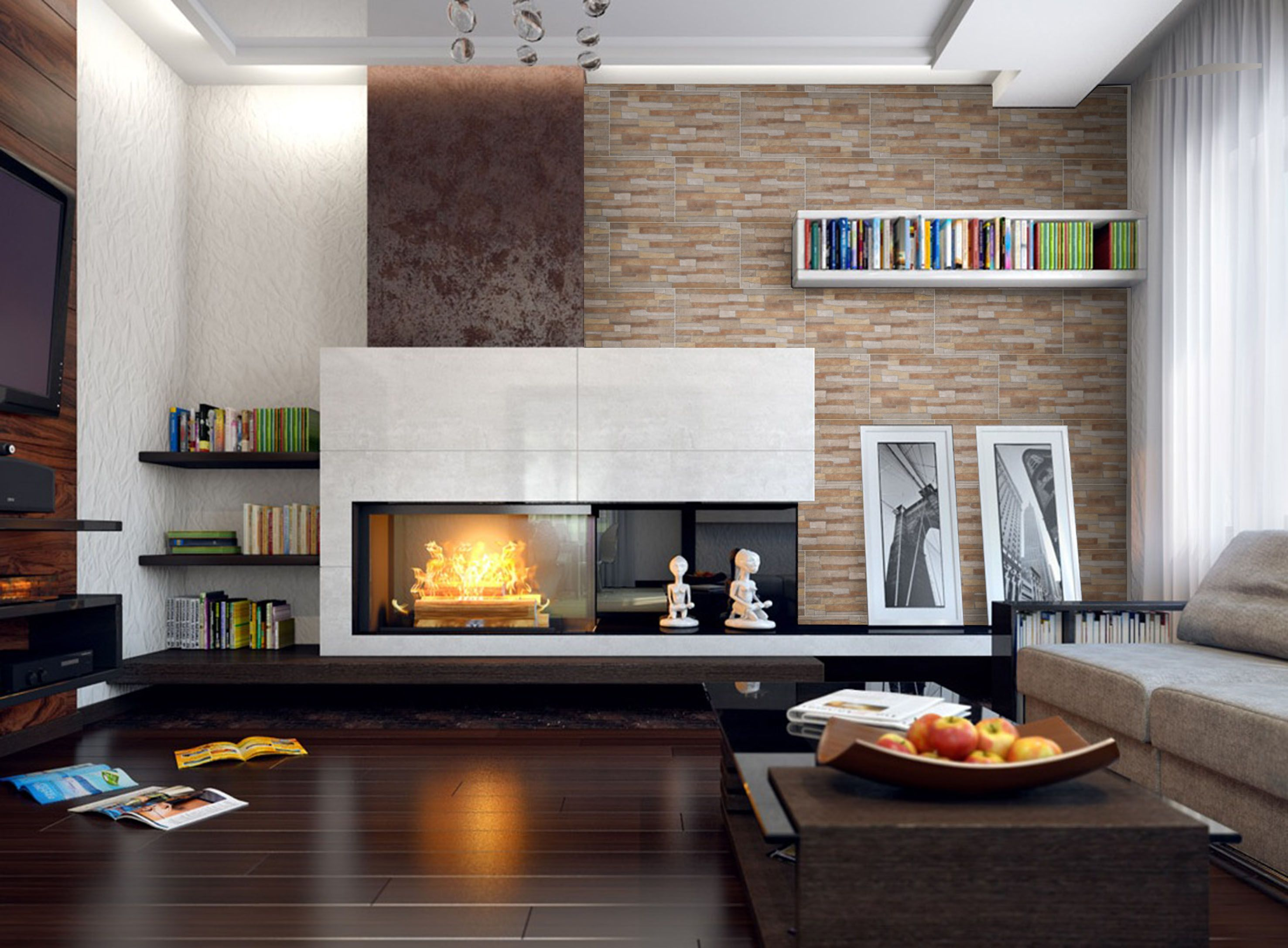 Ceramic tile fireplace hearth