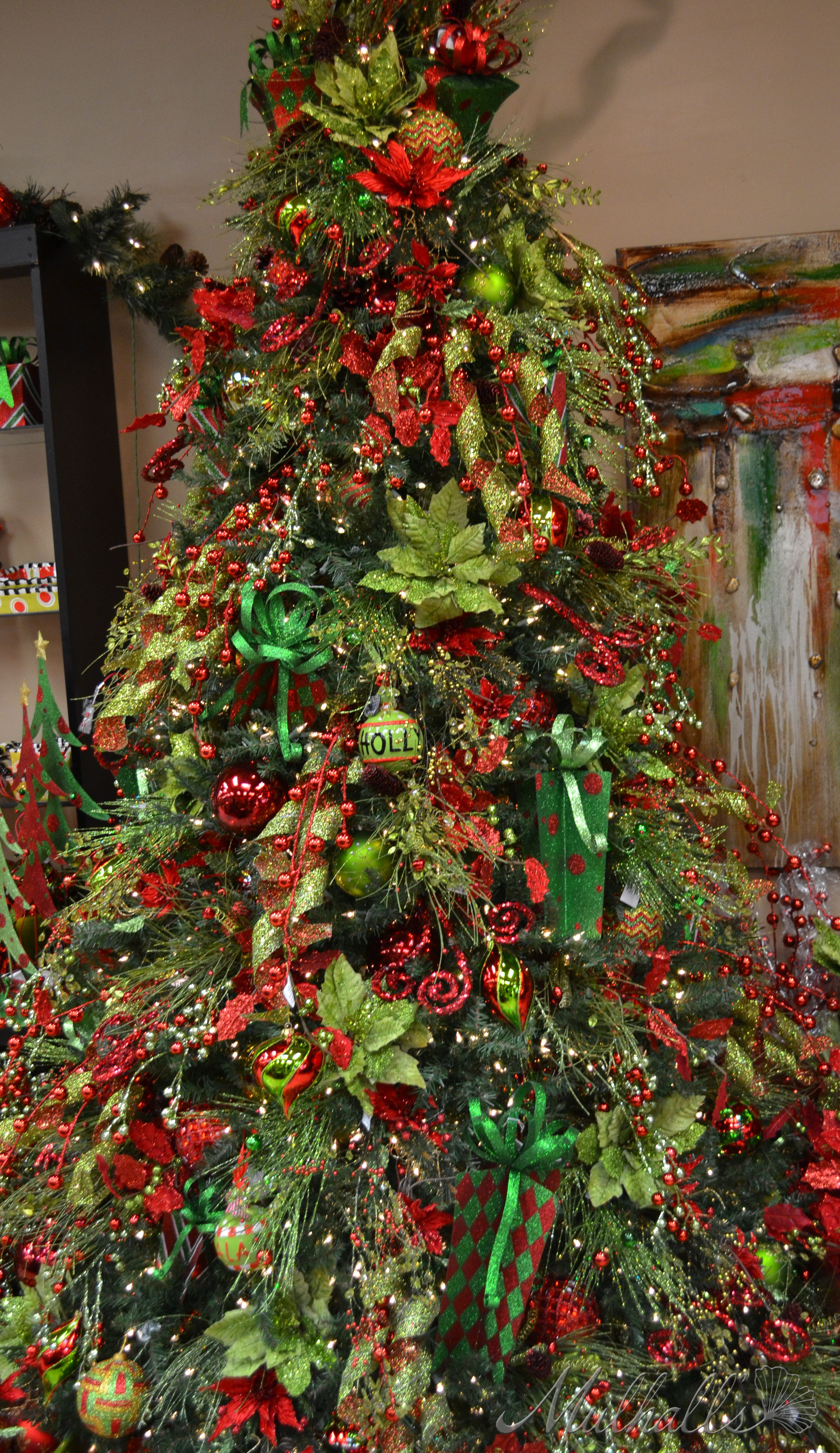 christmas tree red green christmas trees decor