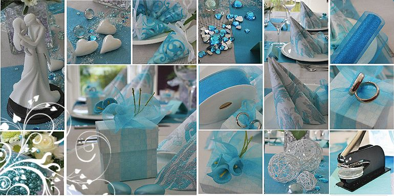 Tischdeko türkis  Hochzeit  Pinterest